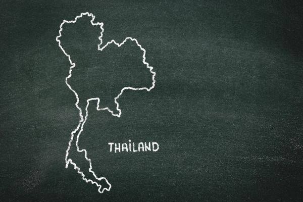黒板に描かれたタイの地図