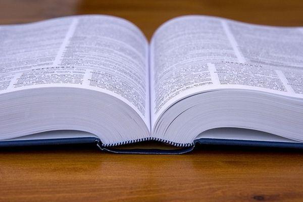 ページが開かれた辞書