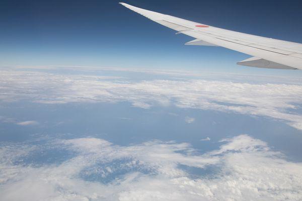 窓から見た飛行機の羽と空