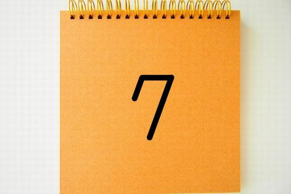 ノートに書かれた7の数字