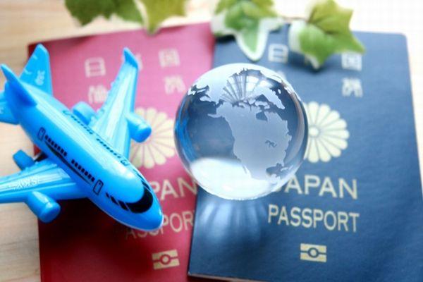 パスポートと飛行機の模型と地球儀